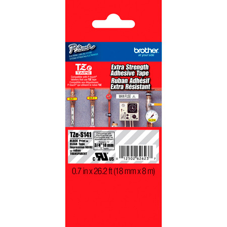 Brother TZeS141 0.7 in x 26.2 ft (18 mm x 8 m) Black on Clear Extra-Strength