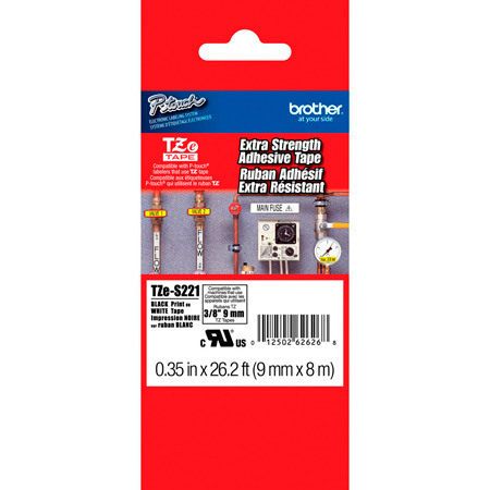 Brother TZeS221 0.35 in x 26.2 ft (9mm x 8m) Black on White Extra-Strength