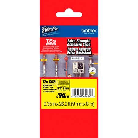 Brother TZeS621 0.35 in x 26.2 ft (9mm x 8m) Black on Yellow Extra-Strength