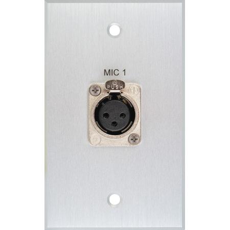 My Custom Shop BRP-1115/CA Boardroom Series 1-Gang Clear Anodized Wall Plate w/ 1 Neutrik 3-Pin XLR Female Connector