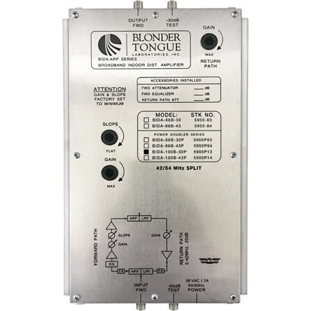 Blonder Tongue BIDA 100B-30P Indoor Distrubution Amplifier - 30dB - 54-1000 MHz - Power-Doubling - Active Return