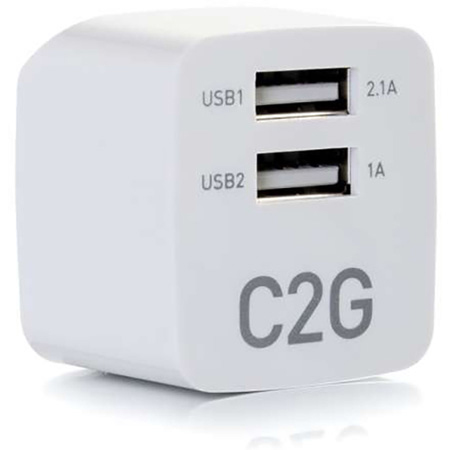 Cables to Go 22322 2 Port Wall Charger - AC to USB Adapter 5V 2.1A Output