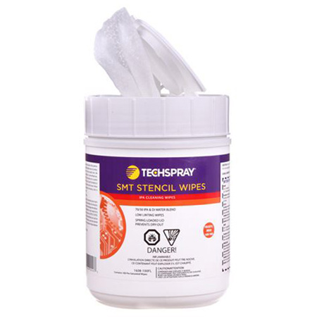 Techspray 1608-100FL Isopropyl Alcohol Cleaning Wipes 70 Percent IPA - Flip-Top Tub - 100 Pack