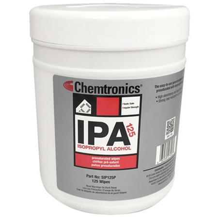 Chemtronics SIP125P Isopropyl Alcohol Presaturated Wipes - 70 Percent IPA - Pull-up Tub - 125 Pack