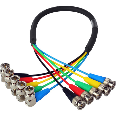 Laird CION-5SDI-06 5-Channel Right Angle 6G-2K 1080i HD-SDI Video Monitoring Output Cable for AJA CION Camera - 6 Foot