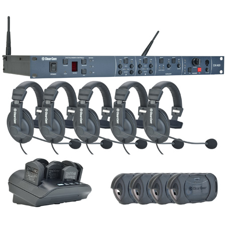 Clear-Com CZ-DX410-4UP Intercom System with BS410 Base Station BP410 Wireless Belt Packs and CC-15-MD4 Headsets