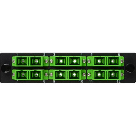 Camplex CMX-MP12SCDA 6-Port SC APC Duplex Single Mode Fiber Adapter Plate Module with Ceramic Connectors-Green