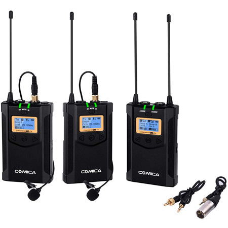 Comica CVM-WM100-PLUS Dual Lavalier / Single Receiver Wireless Microphone System