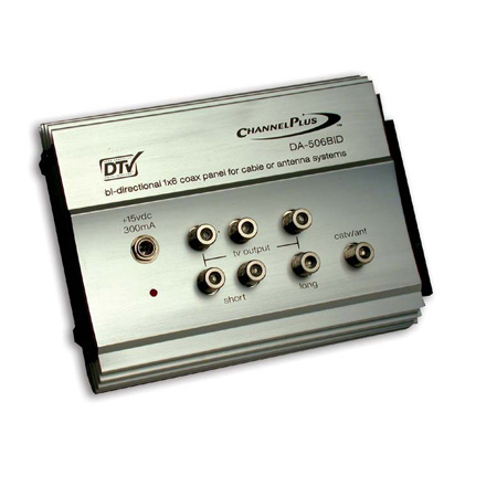 RF Amp w/Bi-directional CATV-  1 in X 6 out (2 short -  4 long)