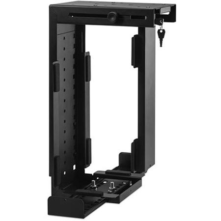 Penn-Elcom CPU-87B/L Side or Under Desk Mount Locking CPU Holder - Black