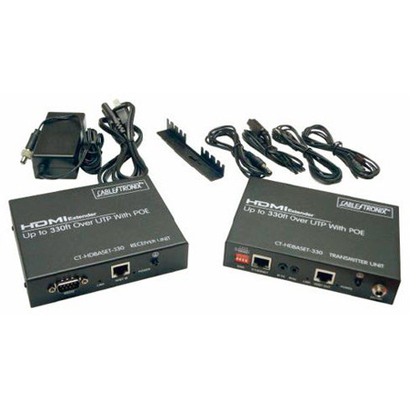 Cabletronix CT-HDBASET-330 HD; Ethernet; RS-232; Infrared Control & PoE Extender