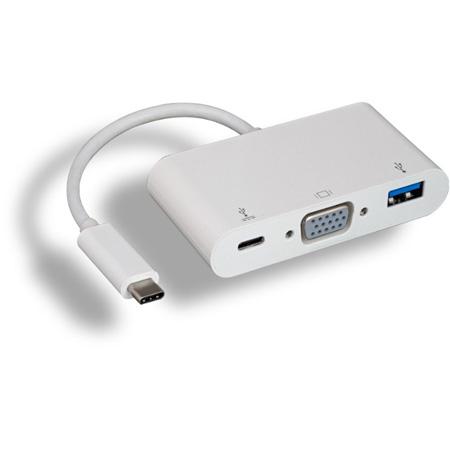 Connectronics CVGAU3C USB 3.1 Type C Male to VGA Female plus USB 3.0 Type A Female plus Type C Female Adaptor