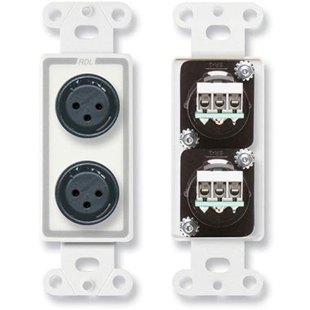 RDL D-XLR2F Dual XLR 3-pin Female Jacks on Decora Wall Plate with Terminal Block connections on rear