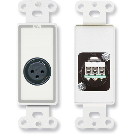 RDL D-XLR3F XLR 3-pin Female Jack on Decora Wall Plate with Terminal Block connections on rear