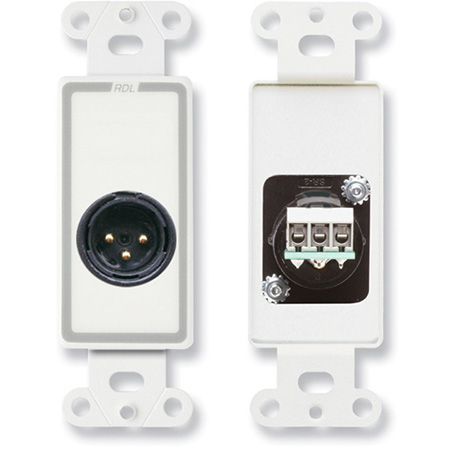 RDL D-XLR3M XLR 3-pin Male Jack on Decora Wall Plate with Terminal Block connections on rear