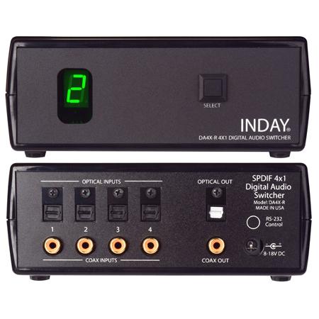 Inday DA4X-R SPDIF 4x1 Digital Audio Switcher with Power Supply and IR Remote