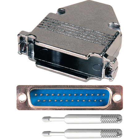 25-Pin HD Male D-Sub Connector with Metal Hood (DP25B and DZ25B) with Thumb Screws