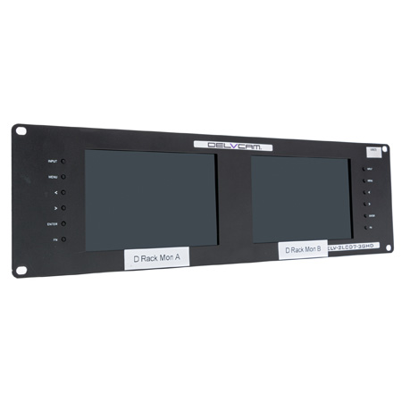 Delvcam Broadcast 3GHD/SD Multiformat Dual 7-Inch Rackmount Video Monitor - B-Stock (Missing Power Supply)