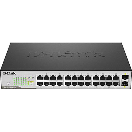 D-Link DGS-1100-26MP Ethernet Switch - 24 Ports - Manageable - 2 x Expansion Slots - 1000Base-T 1000Base-X