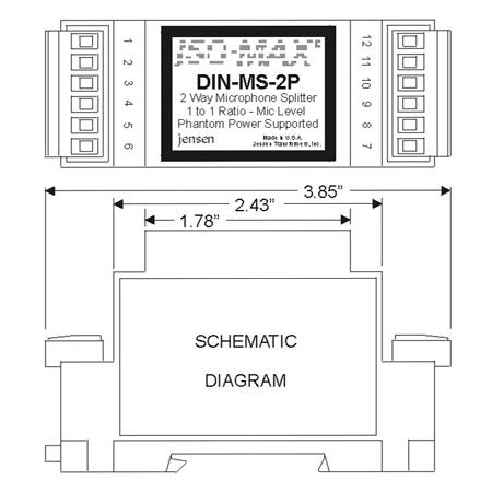 Jensen DIN-MS-2P Microphone Splitter Module