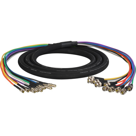 Laird DINB-10SNK-10 Gepco VS10230 3G/HD-SDI 10-Channel DIN 1.0/2.3 to BNC Male Video Adapter Snake Cable - 10 Foot