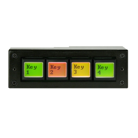 DNF EB-44-RH IP Control Buddy Four Ethernet Buttons with 4 GPI (in/out) & Serial Port - Horizontal Mount Fits 1-RU Panel