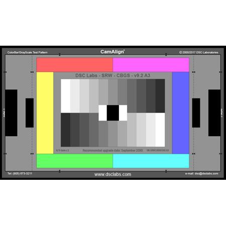 DSC Labs SRW3-CBGS ColorBar/GrayScale Senior CamAlign Chip Chart