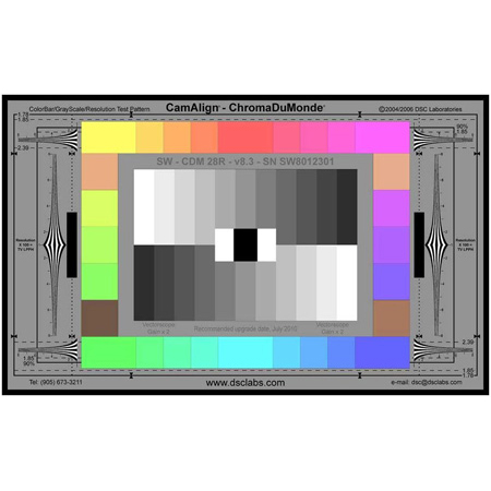 DSC Labs XW23-CDM28R ChromaDuMonde 28 with Resolution Maxi CamAlign Chip Chart & 2 Year Veritas Subscription
