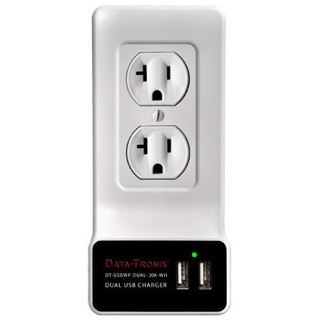 Dual USB Charging Wall Plate for 20-Amp AC Outlets - White