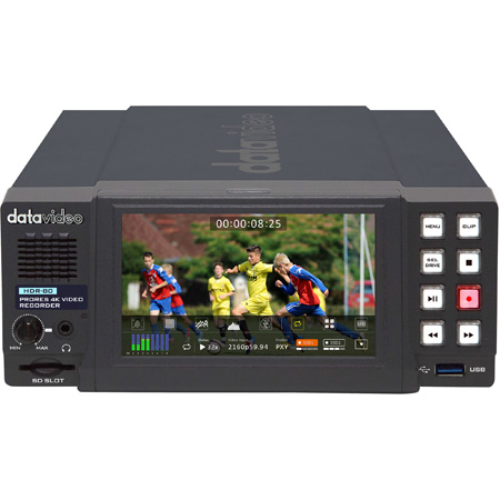 Datavideo HDR-80 4K ProRes Digital Video Recorder with Touch Screen Panel - Desktop Model