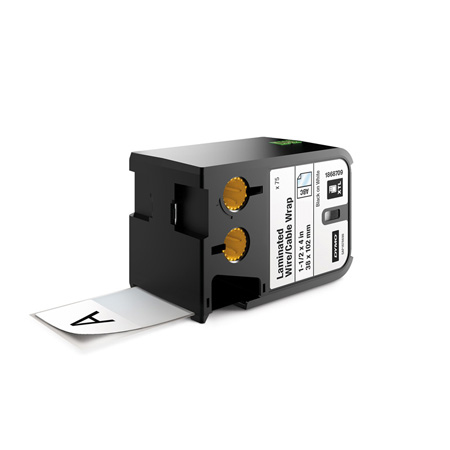 Dymo 1868709 XTL 1-1/2-Inch x 4-Inch (38 mm x 102 mm) Laminated Wire/Cable Wrap - Black on White