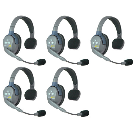 Eartec HUB5S UltraLITE & HUB 5 Person Intercom System with 5 Single Headsets Powered by Li-Ion