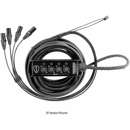 Elite Core Audio PERS4-BF-150 Perseus 4-Channel Female XLR Box to Male XLR Fan Out Snake with TECHFLEX - 150 Foot