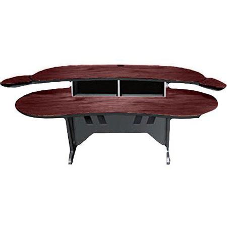 Mid-Atlantic 84 Inch Desk w/Overbridge w/2 4-Space Racks Dark Cherry