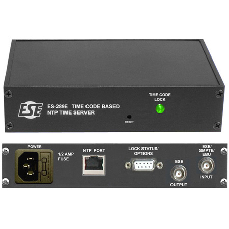ESE ES-289E/P/UL Time Code Referenced NTP Time Server with 19 Inch Rack Mount and UL Approved Wall Mount Power Supply