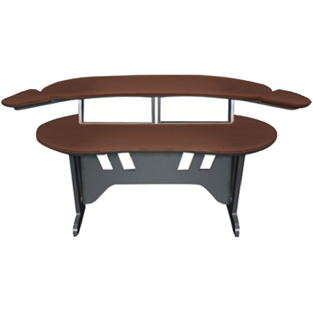 Mid-Atlantic 60 Inch Desk w/Overbridge w/2 4-Space Racks Dark Cherry