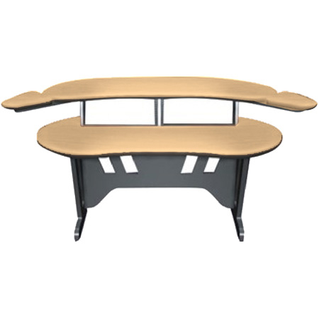Mid-Atlantic 60 Inch Desk w/Overbridge w/2 4-Space Racks Honey Maple