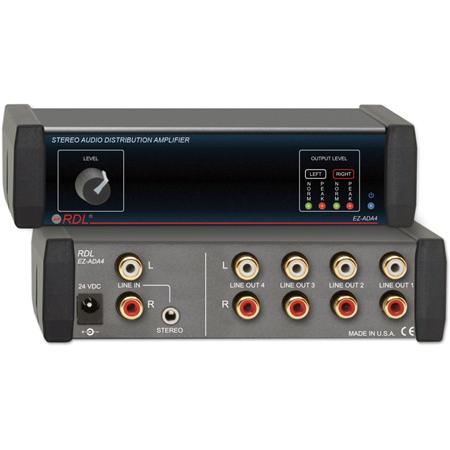 RDL EZ-ADA4 1x4 Stereo Audio Distribution Amplifier