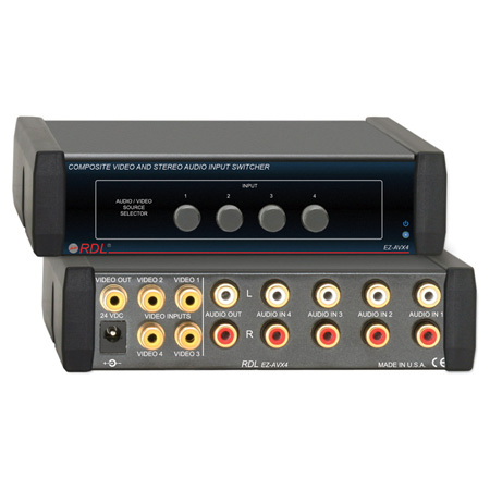 RDL EZ-AVX4 4x1 Composite Video and Stereo Audio Input Switcher