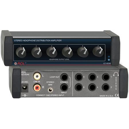 RDL EZ-HDA6 1x6 Stereo Headphone Distribution Amp - Rear-Panel Outputs
