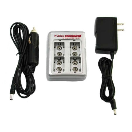 iPower 4 Bay 9V Lithium Charger with AC and DC Cords