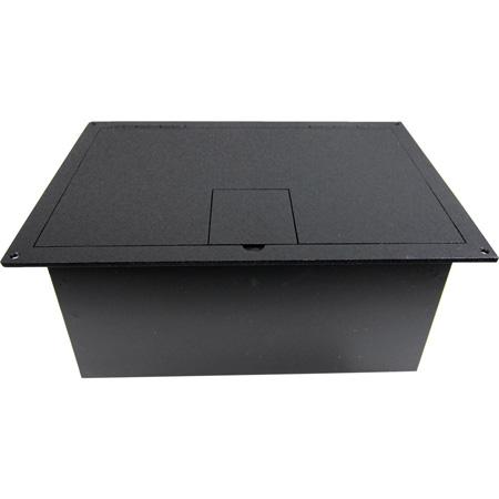 FSR FL-1500 Floor Box with Hinged Door in Black Sandtex Paint
