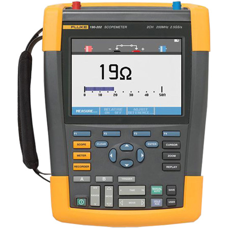 Fluke Scopemeter 2Ch 200MHZ 2.5 GS/s CAT IV Rated Color - Americas - with Li-Ion Battery