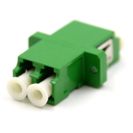 LC to LC Duplex Single Mode APC Flanged Adapter - Green