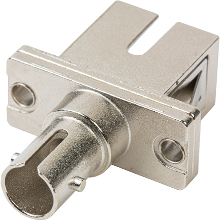 ST to SC Simplex Single Mode Coupler with Flange Ceramic Sleeve & Metal Body- 25 Pack