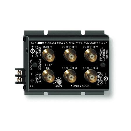 RDL FP-VDA4 NTSC/PAL Video Distribution Amplifier - 1x4 - BNC