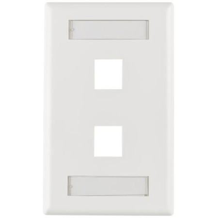HellermannTyton FPIDUAL-W Two Port Flushmount Faceplate with ID Window White