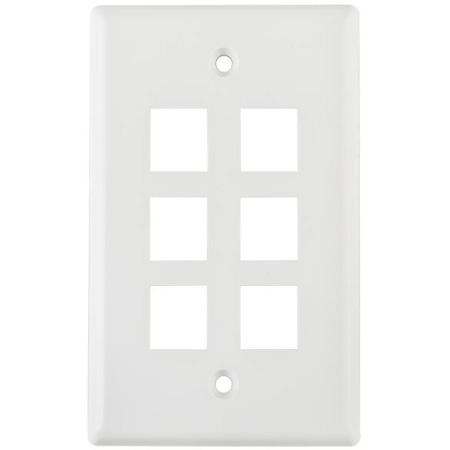 HellermannTyton FPSIX-W Six Port Flushmount Keystone Faceplate White