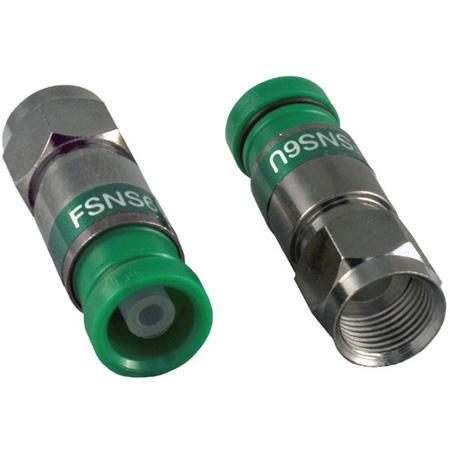 ICM FSNS6U RG6/6 Quad F Compression Connector Nickel Green Snap-n-Seal - Each