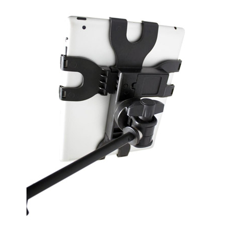 Gator Frameworks GFW-UTL-TBLTMNT Adjustable iPad Tablet Tray with Microphone Stand Mount for iPad  - Fits Most Tablets
